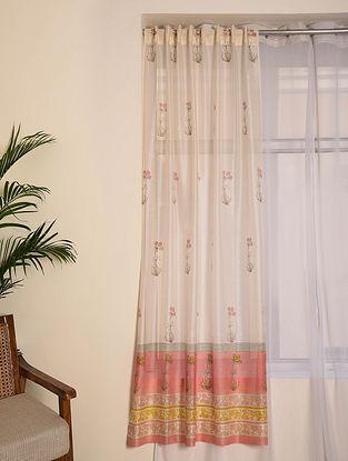 Pink Chanderi Curtain Set of 2 (79inX45in)