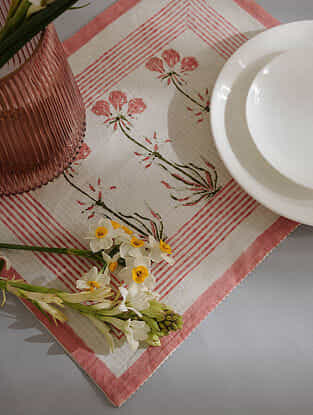 Pink Cotton Table Mat Set of 2 (12inX18in)