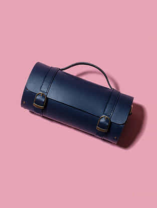 Blue Handcrafted Genuine Leather Sling Bag
