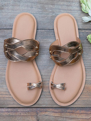 Copper Handcrafted Leatherette Flats