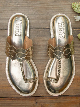 Champagne Gold Handcrafted Leatherette Kolhapuri Flats