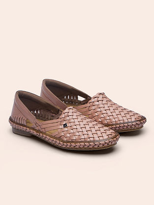 Pink Handcrafted Genuine Leather Shoes