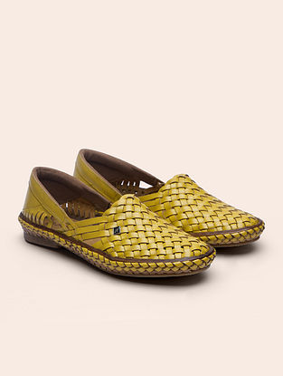 Yellow Handcrafted Genuine Leather Shoes