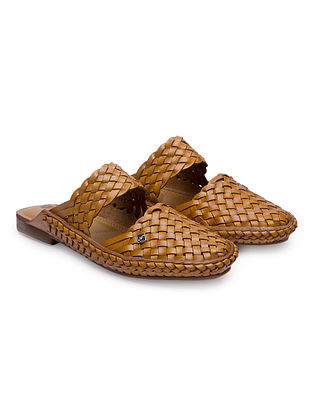Tan Handcrafted Genuine Leather Mules