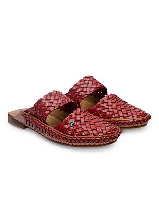 Red Handcrafted Genuine Leather Mules