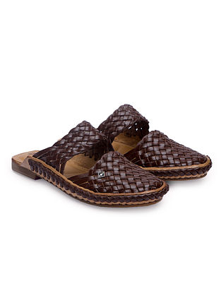 Brown Handcrafted Genuine Leather Mules