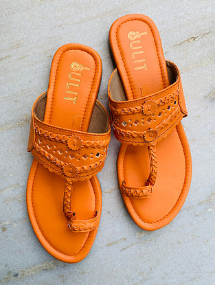 Orange Handcrafted Faux Leather Kolhapuri Flats