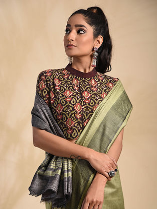 Olive Green-Rust Block Printed Cotton Blouse