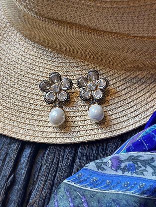 Polki Diamond Silver Earrings with Freshwater Pearls