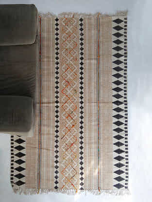 Multicolored Block Printed Cotton Rug with Tassels (L-72in,W-48in)