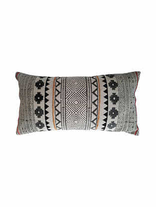Black Block Printed and Embroidered Cotton Cushion Cover (L-28in,W-14in)