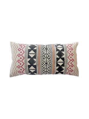 Multicolored Block Printed Cotton Cushion Cover (L-28in,W-14in)