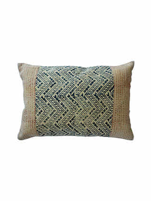 Blue and Rust Block Printed Cotton Cushion Cover (L-24in,W-16in)