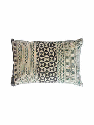 Blue and Black Block Printed Cotton Cushion Cover (L-24in,W-16in)