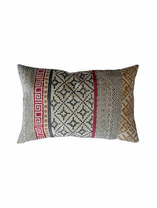 Multicolored Block Printed Cotton Cushion Cover (L-20in,W-14in)