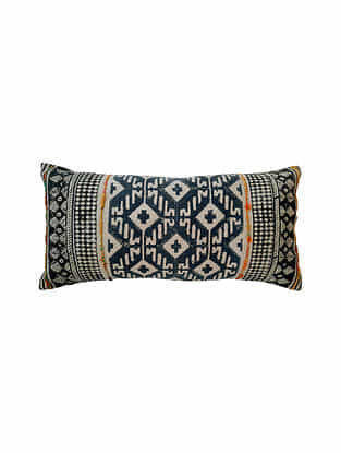 Black and Blue Block Printed Cotton Cushion Cover with Embroidery (L-28in,W-14in)