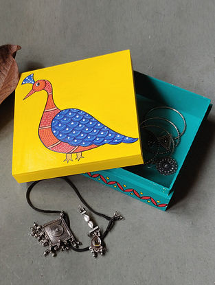 Hand Painted Gond Art Box (L- 7in, W- 7in, H- 2.5in)