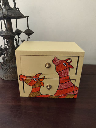 Hand Painted Gond Art Chest Of Drawers (L- 6.5in, W- 5.5in, H- 4in)