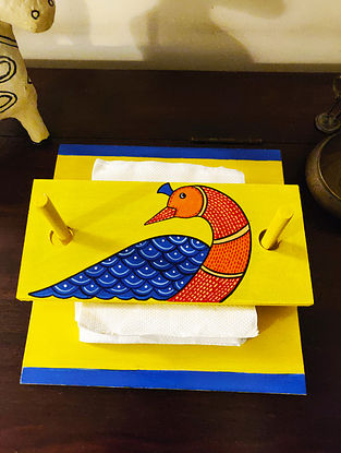 Hand Painted Gond Art Tissue Paper Holder (L- 9in, W- 9in, H- 0.5in)