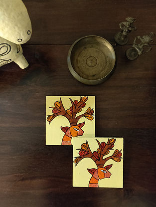 Hand Painted Gond Art Coasters (Set of 4) (L- 4in, W- 4in)