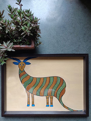Hand Painted Gond Art Rectangle Tray (L- 14in, W- 10in, H- 1in)