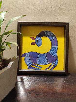 Hand Painted Gond Art Square Tray (L- 8in, W- 8in, H- 1in)