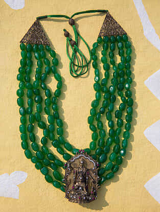 Green Gold Tone Temple Work Beaded Necklace For Men