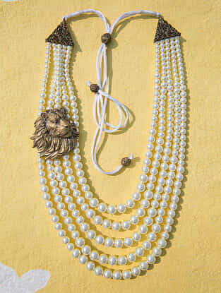 White Gold Tone Temple Work Pearl Beaded Necklace For Men