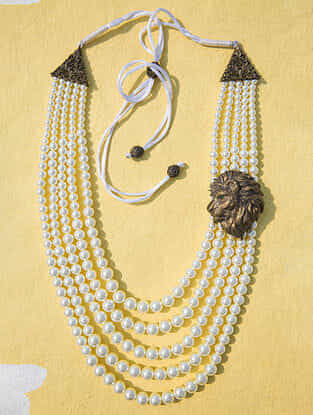 White Gold Tone Layered Pearl Beaded Necklace For Men
