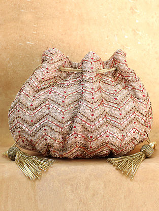 Beige Red Hand Embroidered Chiffon Potli