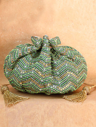 Green Hand Embroidered Chiffon Potli