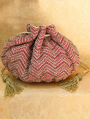 Red Hand Embroidered Chiffon Potli