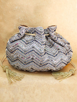 Grey Hand Embroidered Chiffon Potli