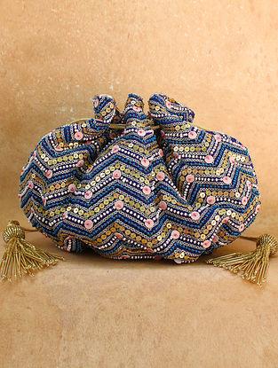 Blue Hand Embroidered Chiffon Potli