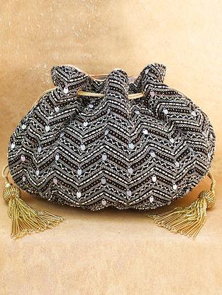 Black Hand Embroidered Chiffon Potli
