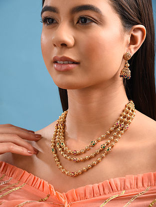 Red Green Gold Tone Handcrafted Necklace With Earrings
