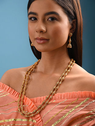 Gold Tone Handcrafted Necklace With Earrings