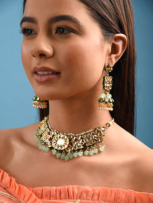 Green Gold Tone Kundan Necklace With Earrings