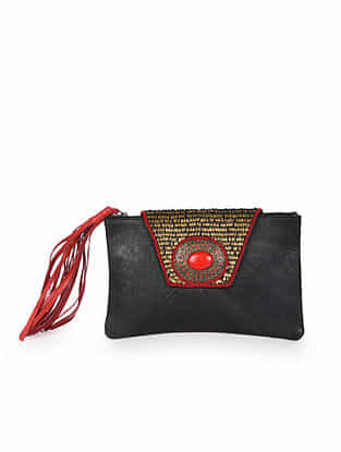 Black Handcrafted Leather Clutch