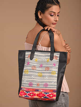 Multicolored Handcrafted Vegan Leather Tote Bag