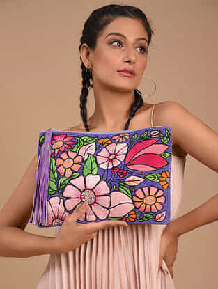 Multicolored Handcrafted Vegan Leather Clutch