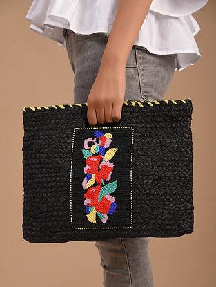 Black Handcrafted Jute Hand Bag