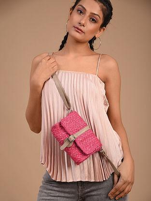 Pink Handcrafted Jute Sling Bag