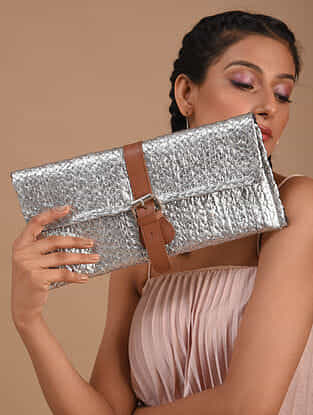Silver Handcrafted Jute Clutch