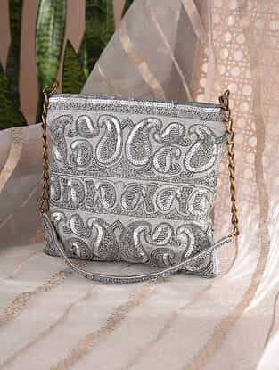 Silver Handcrafted Sequined Velvet Clutch