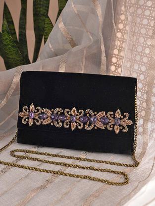 Black Handcrafted Velvet Clutch with Semi Precious Stones