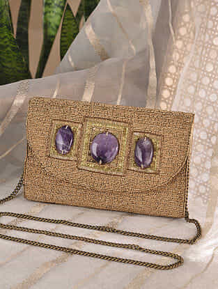 Gold Handcrafted Beaded Velvet Clutch with Semi Precious Stones