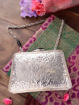 Silver Handcrafted Metal Clutch