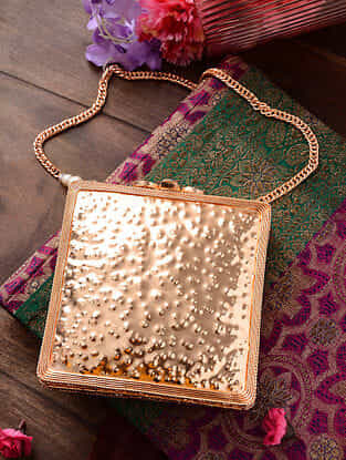 Rose Gold Handcrafted Metal Clutch