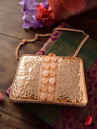 Rose Gold Handcrafted Metal Clutch with Gemstone